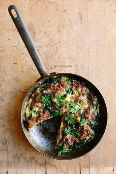 Kale & caramelized onion frittata