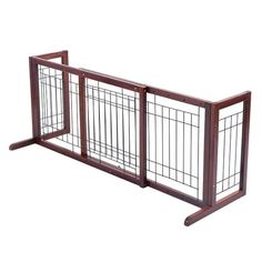 Shop for Costway Wood Dog Gate Adjustable Indoor Solid Construction Pet Fence Playpen Free Stand - as pic. Get free delivery On EVERYTHING* Overstock - Your Online Dog Supplies Store! Diy Dog Gate, Pet Gate, Dog Playpen, Double Entry Doors, Pet Dogs, Pets, Wood Dog, Brown Wood, Doge