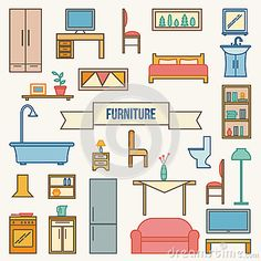 Furniture Icons Set. - Download From Over 50 Million High Quality Stock Photos, Images, Vectors. Sign up for FREE today. Image: 62441097