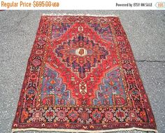 SPRING SALE 1970s Hand-Knotted Hamadan by carpetshopprincess