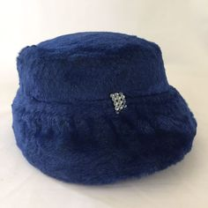Vintage Royal Blue Cloche Hat Plush Soft Fully Lined Soft Plush Kentucky Derby #Unbranded #Cloche