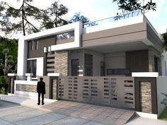 house front design single floor Modern House Two Story with 4 Bedrooms - Cool House Concepts House Balcony Design, 4 Bedroom House Designs, Single Floor House Design, Village House Design, Simple House Design, Bungalow House Design, House Design Photos, House Front Design, Minimalist House Design