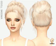 Missparaply high bun hair Sims 4