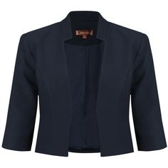 Jolie Moi Three Quarter Open Front Blazer , Navy ($54) ❤ liked on Polyvore featuring outerwear, jackets, blazers, navy, navy cropped jacket, open front jacket, 3/4 sleeve blazer, navy blazer and navy blue jacket