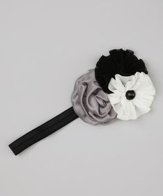 Black & White Flower Cluster Headband
