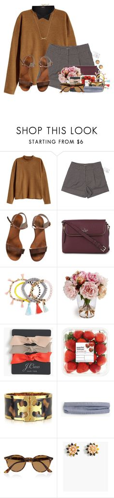 """""""behind my laugh I'm falling apart"""" by flroasburn ❤ liked on Polyvore featuring H&M, Emporio Armani, Kate Spade, BaubleBar, J.Crew, Tory Burch and Ray-Ban"""
