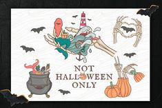 Not Halloween Only - it's a collection of illustrations with pumpkins, storm, mermaids, bats, skeletons and ect. Looks like Halloween isn't it? Mermaid Clipart, Lifebuoy, Design Bundles, Graphic Design Art, Graphic Illustration, Free Design, Design Elements, Sailor, Halloween