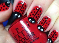 Lady birds, want to try this now! Need a white nail art pen – Katrina Rebeca Lady birds, want to try this now! Need a white nail art pen Lady birds, want to try this now! Need a white nail art pen Manicure Nail Designs, Red Nail Designs, Simple Nail Art Designs, Short Nail Designs, Easy Nail Art, Manicure Ideas, Nails Design, Nail Designs For Kids, Red Nail Art