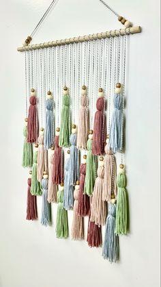 Dream Catcher Nursery, Dream Catcher Boho, Yarn Wall Hanging, Wall Hangings, Tassel Garland, Tassels, Baby Wall Decor, Teal And Pink, Boho Nursery