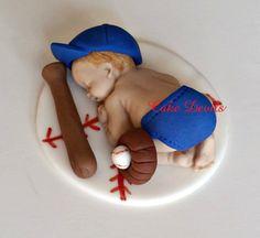 Fondant Baby Boy Fondant Cake Topper, Sleeping Baby Shower Baseball Cake Topper, Handmade Edible, Christening Cake Topper, Baptism Baby Cake