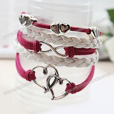 Wholesale Trendy Handmade Openwork Heart Decorated Bracelet (AS THE PICTURE), Bracelets - Rosewholesale.com