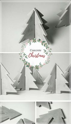 I love these concrete Christmas trees. I would add a little white paint, maybe dots or dip the top of the trees in white paint. #commissionlink #concrete #christmastree #cement #decor