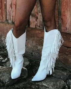 The Sinatra's White Fringe Boots – Baha Ranch Western Wear Wedding Cowboy Boots, White Cowboy Boots, Fringe Cowboy Boots, White Leather Boots, Black Cowgirl, White Boots For Women, Cowgirl Boots, Fringe Boots Outfit, Booties Outfit