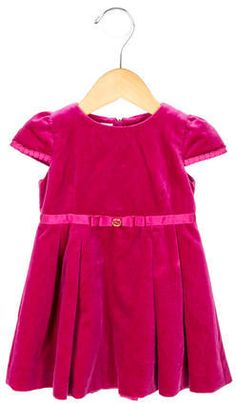 Gucci Girls Velvet Dress Logo $85 At TheRealReal Infant girls' pink Gucci cap sleeve velvet A-line dress https://api.shopstyle.com/action/apiVisitRetailer?id=534038907&pid=uid841-37799971-81