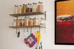mason jars with grains, etc. totally doing this in my next kitchen if i have enough wall space!!