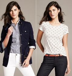 """""""Banana Republic"""" spring colection Daily Look, Polka Dot Top, Banana Republic, Spring, Tops, Women, Fashion, Moda, Women's"""