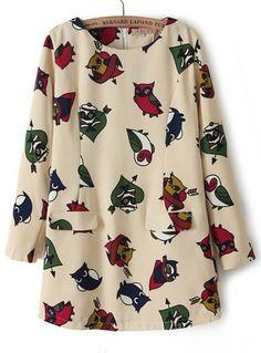 Apricot Long Sleeve Owl Print Chiffon Dress