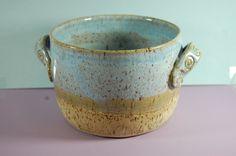 Pottery Bread Baker 101 Casserol Textured Handle Beach Blue And Sand Glaze. $32.00, via Etsy.