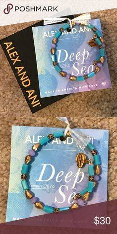 NIB Alex and Ani Deep Sea Wrap New, never worn. Comes with box and meaning card. From 2016 Deep Sea Collection. Beautiful gold, purple, and blue wrap bracelet. Purchased from another posher, but never wore. Alex and Ani Jewelry Bracelets