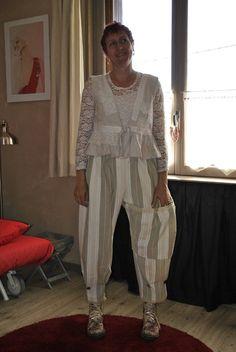 Pantalon bloomer toile matelas + veste lin dentelles
