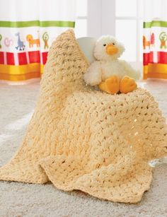 Warm, oh-so-huggable Puffy Blanket: free crochet pattern