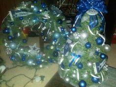 Dallas Cowboy mini Christmas tree & wreath. 2013
