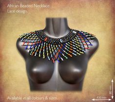 Traditional African Beaded Necklaces handmade by highly skilled Zulu Beadworkers from South Africa. African Jewelry including beaded bangles, bracelets and earrings. African Beaded Bracelets, African Beads Necklace, African Jewelry, Beaded Earrings, Beaded Jewelry, Beaded Necklaces, African Wedding Attire, African Crafts, Neck Piece