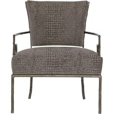 Kiefer Hollywood Regency Grey Alligator Fabric Metal Armchair ($1,341) ❤ liked on Polyvore featuring home, furniture, chairs, accent chairs, grey armchair, fabric accent chairs, fabric arm chair, gray armchair and metal arm chair