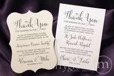 These custom favor cards are the perfect way to inform guests of your charitable donation in lieu of traditional favors! Made with ultra-thick white or ivory shimmer cardstock and dark grey print, they are the perfect size for placing at each table setting. Your charity of choice, brief description (1 sentence), your names and wedding …