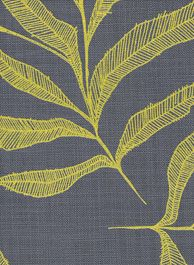 """Leaf in """"butter yellow on indigo"""" Mix and Match collection by Design Team Fabulous Fabrics, Mix N Match, Irene, Indigo, Centre, Butter, Textiles, Bathroom, Yellow"""