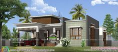 3 bedroom flat roof 1450 square feet single floor home design by Greenline Architects & Builders, Calicut, Kerala. Kerala House Design, Unique House Design, House Elevation, Building Elevation, Morden House, Single Floor House Design, Small Modern House Plans, Flat Roof House, Independent House