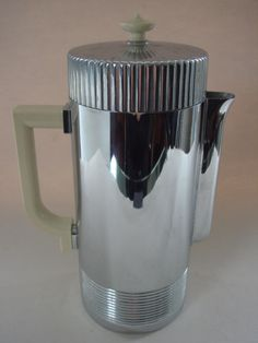 "AMERICAN ART DECO CHROME AND WHITE BAKELITE 'CONTINENTAL' COFFEE SERVER DESIGNED BY ""WALTER VON NESSEN"" FOR ""CHASE"""