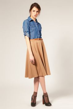 khaki skirt + denim shirt + socks + t-strap heels