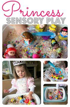 Fun princess themed sensory tub to explore and prompt pretend play!