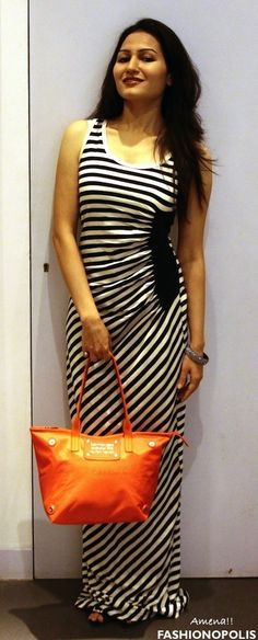 ::Styled With Calvin Klein Jeans:: #Monochrome #stripes #MaxiDress paired with #orange #tote from #CalvinKleinJeans #SpringSummer2013 #fashion #style