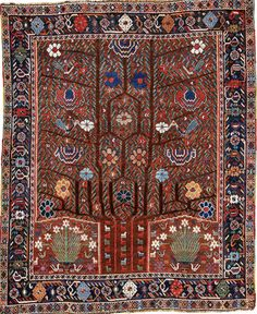 Persian Neriz rug, approximately 188 by 155cm; 6ft. 2in., 5ft., circa 1900, Sotheby's