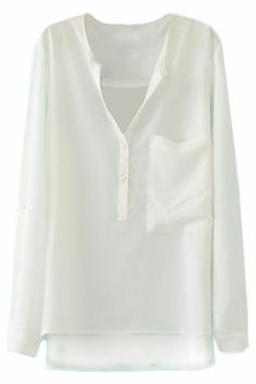 ROMWE | Asymmetric V-neck White Blouse, The Latest Street Fashion #Romwe
