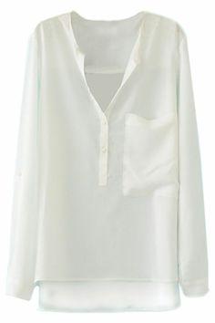 ROMWE   Asymmetric V-neck White Blouse, The Latest Street Fashion #Romwe