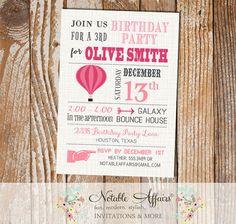 Hot Air Balloon Modern Birthday Invitation  by NotableAffairs