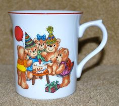 Lucy and Me Rigg 1979 White Coffee Cup Mug - Enesco Birthday Teddy Bears Party