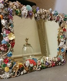 Large Antique/Vintage Jeweled Standing Mirror, Decorated Mirror, Vintage Jewelry
