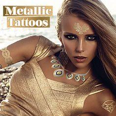 Tatuaggi metallici color oro e argento per un look da capogiro! Tutti i modelli sul nostro store