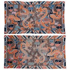 Pair of Charming Antique Tibetan Double Dragon Khaden Rugs Tibetan Dragon, Asian Rugs, Tibetan Rugs, Rugs On Carpet, Carpets, Ancient China, Floor Design, Modern Rugs, Asian Art
