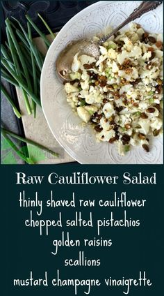 How to make a healthy, tasty, raw shaved cauliflower salad with pistachios with a mustard champagne vinaigrette.Perfect for a party as it keeps well. cauliflower recipe Shaved Cauliflower Salad with Champagne Vinaigrette & Video - Spinach Tiger Brocolli And Cauliflower Recipes, Raw Cauliflower Salad, Vegetarian Cauliflower Recipes, Best Cauliflower Recipe, Califlower Recipes, Broccoli, Parmesan Cauliflower, Cauliflower Casserole, Gourmet