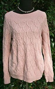 CROFT-BARROW-Earthy-Pink-Sparkle-Cotton-Cable-knit-Long-Sleeve-Sweater-Woman-XL