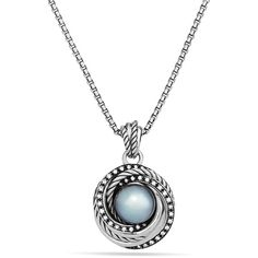 David Yurman Pearl Crossover Pendant with Diamonds on Chain (1,780 CAD) ❤ liked on Polyvore
