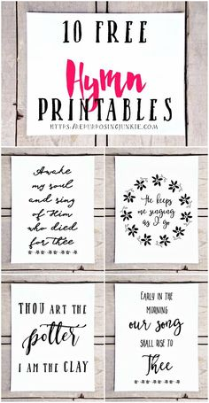 10 Free Hymn Printables, Free Printables, Hymn Printables, Easy Wall Decor, Prints, Wall Art, Inspirational, Free printables for the home
