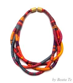 colorful, fabric, multi strand tribal rope necklace by Beata Te