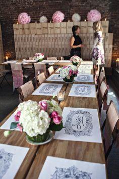 Wedding Placemat Inspiration via Oh So Beautiful Paper: http://ohsobeautifulpaper.com/2014/05/wedding-stationery-inspiration-placemats/ | Photo: Jillian Modern Photography via Style Me Pretty #wedding