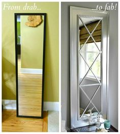 How To Transform A Old Door Mirror Into A Beautiful Display Mirror   -- Don't miss out! Follow DIY Fun Ideas on facebook: www.facebook.com/diyfunideas